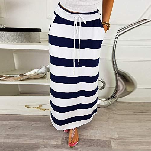 Hight Longue Dark Hiver Jupe Femme Fashion Taille Blue womens Maxi Stripe MGzpjSqULV