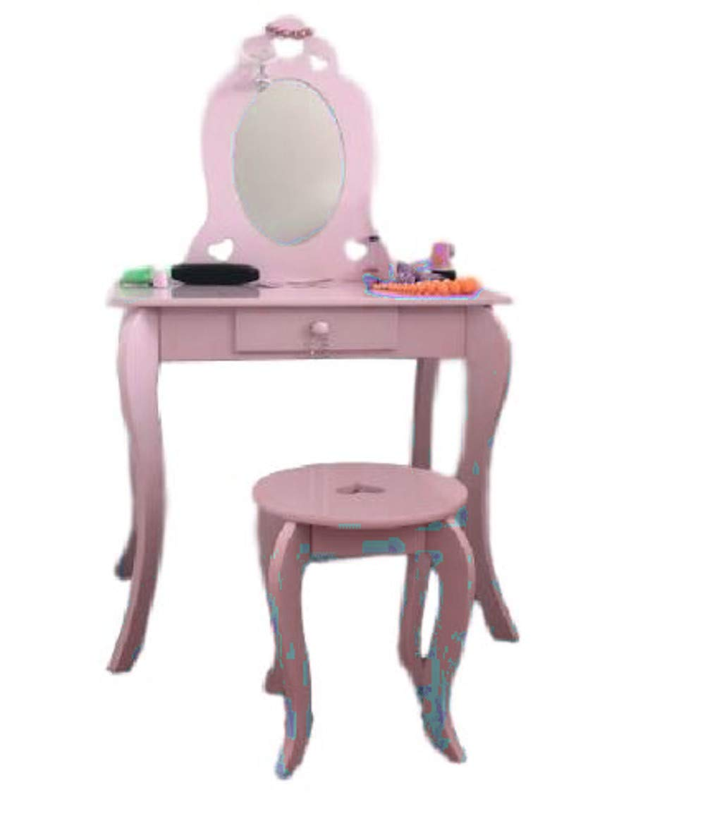 GT Makeup Table Set Kids Small with Mirror and Bench Drawer Child Children Girls Classic Furniture & E Book by Easy2Find by GT (Image #1)