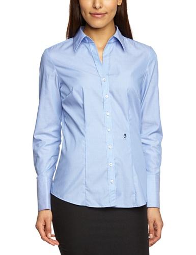 Schwarze Rose - Blusa de manga larga para mujer Azul (11)