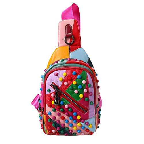 Yy.f La Moda Bolsa De Piel De Oveja Suave Pecho Hombro Ocasional Diagonales Remaches Paquete De Los Hombres Bolso Multicolor Golpeó El Bolso Del Color 3 Colores Pink