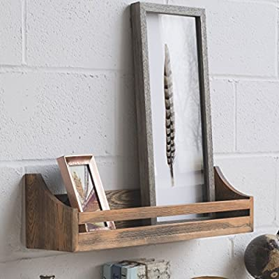 brightmaison 24 inch Rustic Wood Wall Shelf Weathered Handmade Reclaimed Style Wooden Multi Purpose Wall Rack Floating Shelf Dark Walnut Stained Decor Display - MONEY WELL SPENT - Keep track of your budget and spend your money wisely while you can decorate and organize your living space. This farmhouse design wall shelf is great for storing many things without the hassle and frustration of sparing extra room. INDUSTRIAL LOOK BOOKSHELF - Use the wall mountable shelves to display, organize and decorate your items and living room. Instead of using a large furniture piece to store your books, you will save up on floor space RUSTIC HOME DECOR - Features a retro design of torch finished wood; Perfect for highlighting your living room, office, kitchen or more by displaying charming showpieces, decorative items, and other prized possessions. - wall-shelves, living-room-furniture, living-room - 510lHzLGW3L. SS400  -