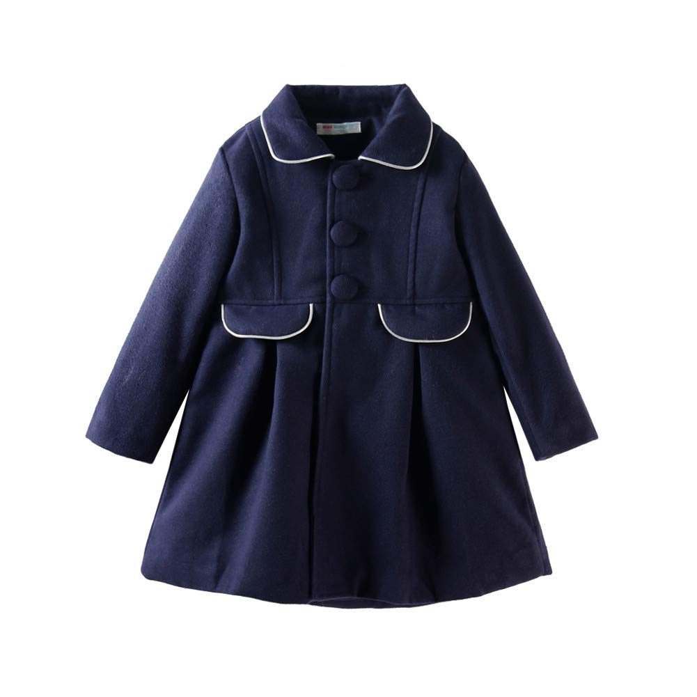 LittleSpring Girls Faux Wool Dress Coat Slim-Fit for 2-6 Years