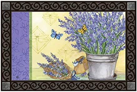Studio M MatMates Lavender Spring Summer Floral Decorative Floor Mat Indoor or Outdoor Doormat with Eco-Friendly Recycled Rubber Backing, 18 x 30 Inches