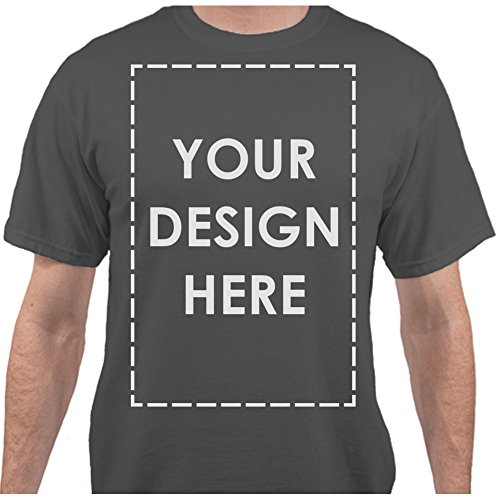 - Add Your Own Custom Text Name Personalized Message Image Charcoal T-Shirt - Medium