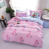 ManFan 4pcs in 1 King Aloe Cotton Bedding Set Solid Color AB Bed Protector Home Quilt Cover Blanket School Dorm Cartoon Print - Pink Panther
