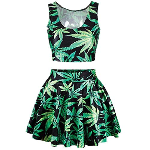 My Sky Womens Printed Crop Top Pleated Skater Rave Skirt 2 Piece Set (Marijuana Leaf Print)