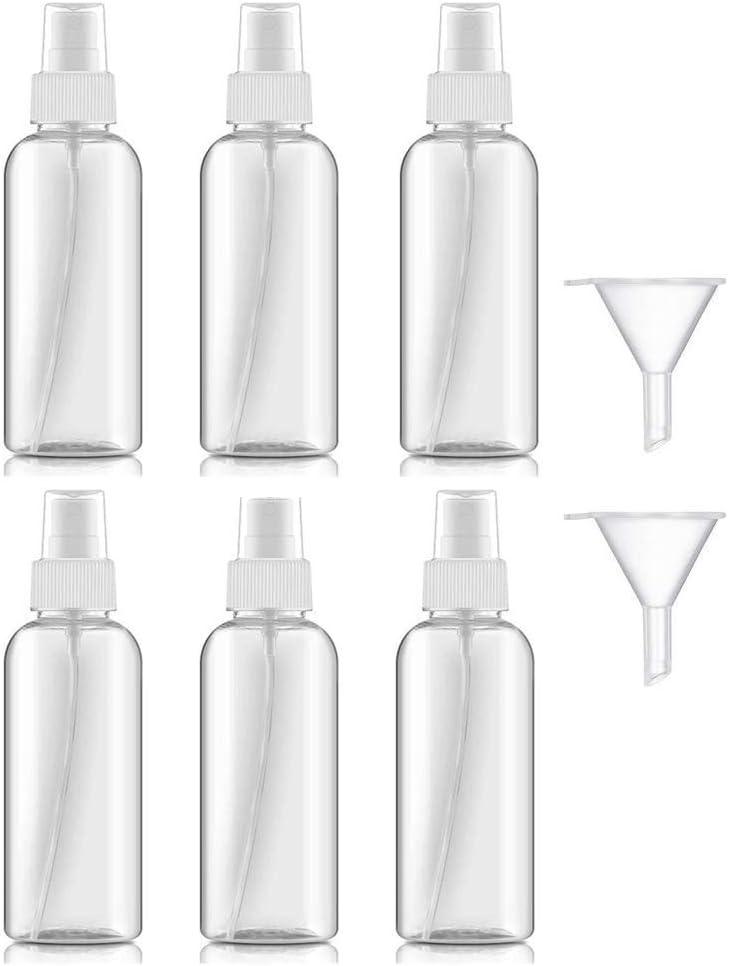 50ml Bote Spray Botellas Vacía De Plástico Transparentes Contenedor de Pulverizador, Bote Spray Pulverizador Transparente Set de Botella de Spray de Viaje-6 Piezas (50ml)