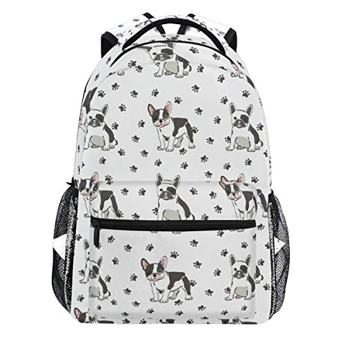 Kaariok Dog Puppy French Bulldog Paw Backpack Bookbags Daypack Travel School College Bag for Womens Mens Teens (French Book Bag)