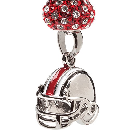 Ohio State Necklace | OSU Buckeyes Football Helmet Necklace with Crystal | Officially Licensed Ohio State Jewelry | OSU Gifts | Ohio State Jewelry | Stainless Steel