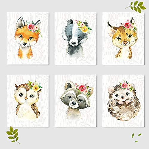 Woodland Animals Nursery Wall Decor Prints (Set of 6) - Baby Shower Gift Ideas Wall Art Prints - Unframed - 8 x 10""