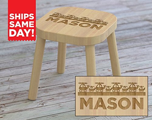 Kids Step Stool, Helicopter, Airplanes, Custom Kids Name Stool, Personalized Kids Stool, Childrens Stool, Childrens Bench, Wooden Step Stool, Gift For Kids, Christmas Gift Ideas for Kids (Newborn Step Stool)
