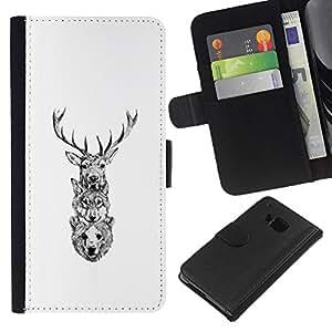YiPhone /// Tirón de la caja Cartera de cuero con ranuras para tarjetas - Ciervo Lobo Oso - HTC One M7