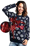 Women's Ugly Christmas Sweater Fluffy Snowman with Real Scarf Xmas Pullover - Fluffy Festive Feels,