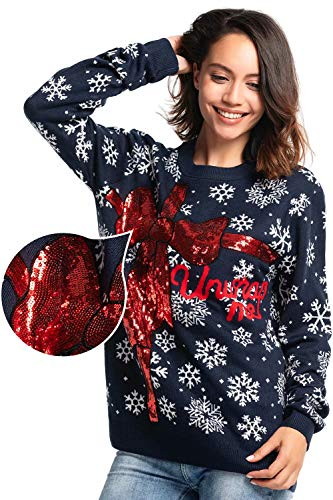 53bdd3efa3a Women s Ugly Christmas Sweater Funny Sequin Bow Xmas Pullover - Bow  Beautiful