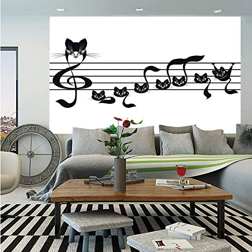 SoSung Music Decor Removable Wall Mural,Notes Kittens Kitty Cat Artwork Notation Tune Children Halloween Stylized,Self-Adhesive Large Wallpaper for Home Decor 66x96 inches,