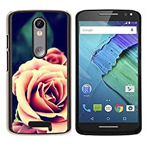 LECELL--Funda protectora / Cubierta / Piel For Motorola MOTO X3 3rd -- Rosa Naranja primer plano Flor --