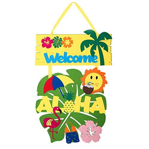 BeYumi Luau Welcome Door Sign, Aloha Door Hanger, Summer Beach Door Cover for Hawaiian Party Decoration Luau Party Supplies Favors
