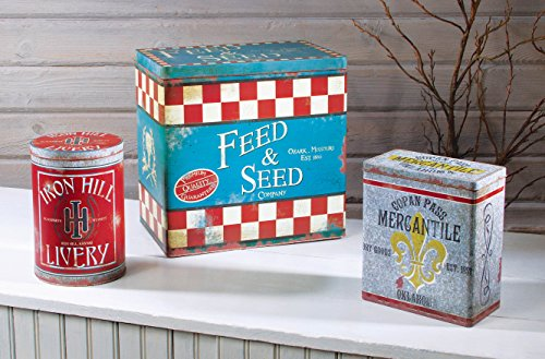 Feed Store Tin Sign (3 Pc Red & Turquoise Antique Inspired Old West Advertisement Sign Storage Tins)