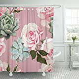 Dusty Pink Shower Curtain TOMPOP Shower Curtain Green Succulents and Roses of Floral Dusty Pink Flowered Waterproof Polyester Fabric 60 x 72 Inches Set with Hooks