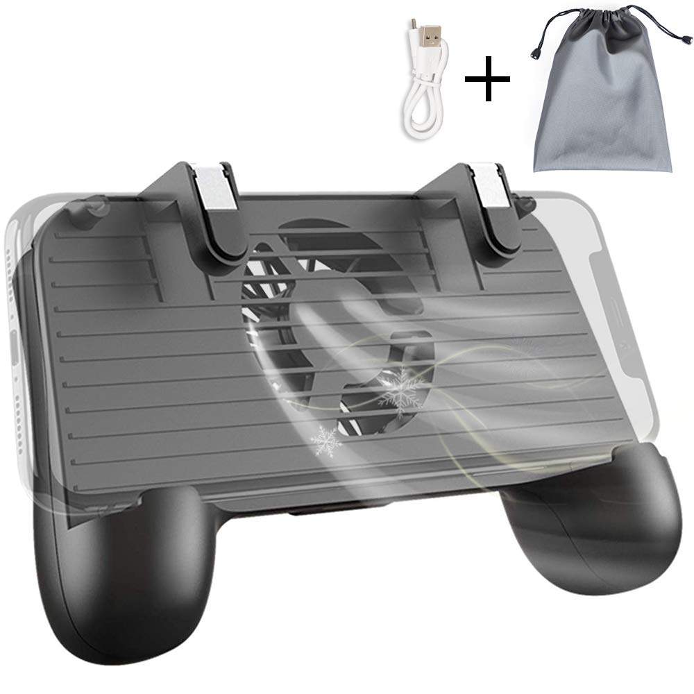 Mobile Controller with Portable Charger Cooling Fan, PUBG Mobile Controller L1R1 Mobile Game Trigger Joystick for 4-6.5'' Phone【Upgraded Version 2000mAh】