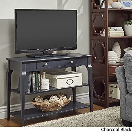 INSPIRE Q Modern Daniella Console Sofa Table TV Stand Bold With Two 2 Fixed Shelves And One 1 Drawer Charcoal Black