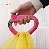 2 Pcs/pack Creative Oversized Load Retractable One Trip Grips Shopping Grocery Bag Holder Handle Carrier Lock Kitchen Tool Gadgets Ergonomic Design(Multicolor Random)