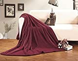 Elegant Comfort Micro-Fleece Ultra Plush Luxury Solid Blanket, King/California King, Burgundy