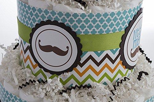 The ''Little Man'' Chevron, Mustache Baby Diaper Cake. Baby Shower Gift or Centerpiece.
