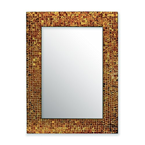 osaic Wall Mirror, Accent Mirror, Rectangular Decorative Mirror with Mosaic Glass Tile Frame in Polished Sunstone Brown Hues ()