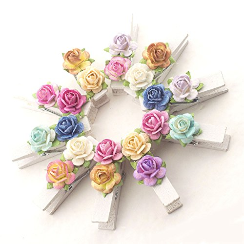 Summer-Ray 20 Handmade Mulberry Flower Decorated Mini White Wooden Clothespin Fridge Magnet