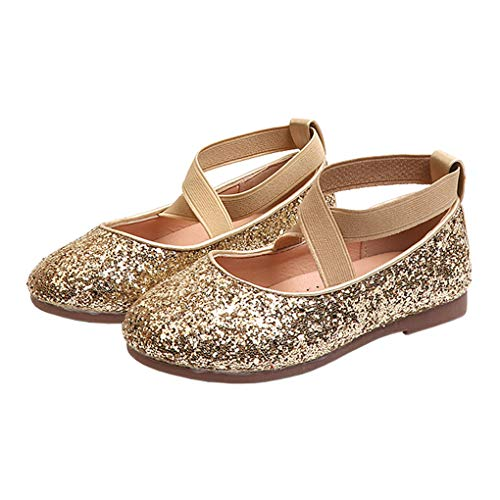 Little Girls Shiny Sequins Dance Ballet Flats Slip On Princess Dress Shoes Golden Size 30 -