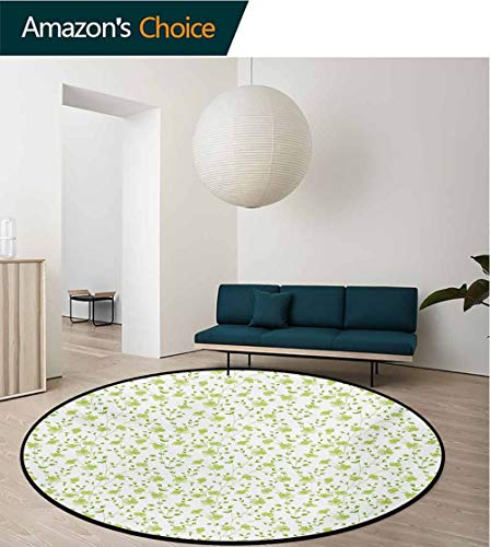 - RUGSMAT Flower Non-Slip Area Rug Pad Round,Morning Garden Freshness Greenery Modern Old Fashioned Silhouette Artwork Protect Floors While Securing Rug Making Vacuuming,Round-55 Inch