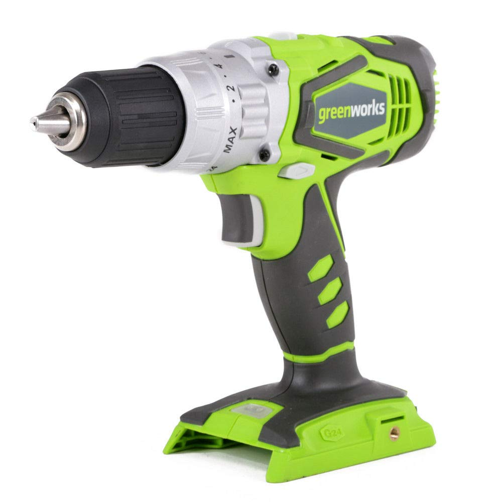 Greenworks 24V 2 Speed Cordless 0.5 Inch Hammer Drill, Green (Tool Only)