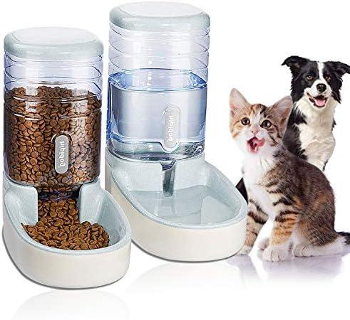 UniqueFit - Comedero automático para Mascotas, Gatos, Perros y Gatos, 3,8 l, con 1 dispensador de Agua y 1 alimentador automático para Mascotas 2