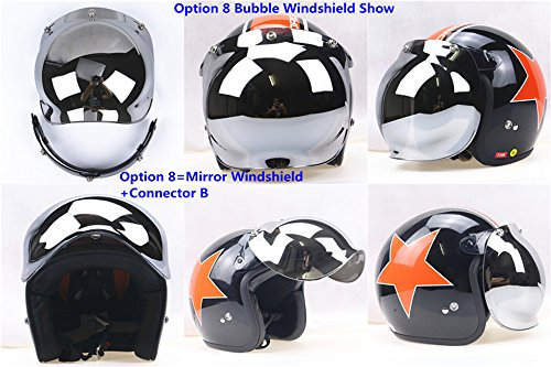 Motorcycle Retro Bubble Visor Wind Face Shield Lens Universal For 3-Snap Open Face Helmets(Mirrored) by Hottong (Image #2)