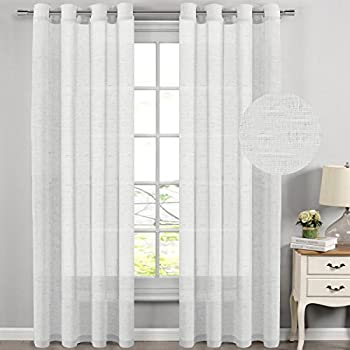 HVERSAILTEX Extra Long Curtains Window Treatments For Living Room Rich Linen Sheer Curtain