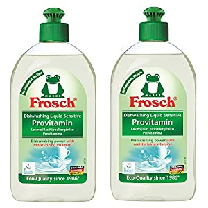 Frosch Natural Unscented Sensitive Provitamin Liquid Hand Dish Washing Soap, Free & Clear, 500 ml (Pack of 2)