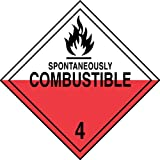Accuform Signs MPL403VP100 Plastic Hazard Class 4 DOT Placard, Legend ''SPONTANEOUSLY COMBUSTIBLE 4'' with Graphic, 10-3/4'' Width x 10-3/4'' Length, Black on White/Red (Pack of 100)