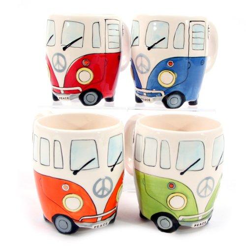 Set of Four Campervan Mugs - Travel Mug Ceramic Angel