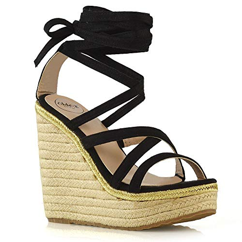 ESSEX GLAM Womens Lace Up Sandals Ladies Black Faux Suede Wedge Heel Platform Strappy Espadrilles Shoes 6 B(M) US (Strappy Wedges Suede Faux)
