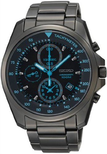 Seiko Chronograph Black Dial Black PVD Stainless Steel Mens Watch SNDD67