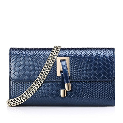 Body Sac Purse de véritable main Cross cuir main luxe Sacs Satchel SANSJI à Weave Texture en Bleu à Gaufré Crocodile XIxZU4g