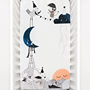 Rookie Humans 100% Cotton Sateen Fitted Crib Sheet: The Moon's Birthday. Complements Modern Nursery, Use as a Photo Background for Your Baby Pictures. Standard crib size (52 x 28 inches).