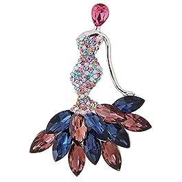 Badalink Elegant Mermaid Brooch Necklace Pendant Bling Crystal Diamond Rhinestone Sparkling Charm De