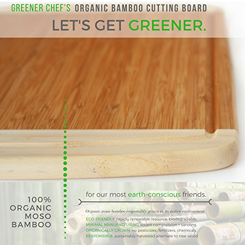 Extra Large Organic Bamboo Cutting Board for Kitchen - NEW CRACK-FREE DESIGN - Best Wood Chopping Boards w/Juice Groove for Carving Meat, Wooden Butcher Block for Vegetables & Serving Tray for Cheese by Greener Chef (Image #8)