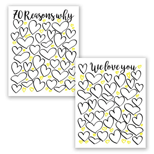 11x14 in 70 Reasons Why We Love You - Set of 2 Art Posters Prints - Personalized 70th Birthday Gift For Women and Men // Birthday Party Decorations // Guest Book // For Mom For Her For Men