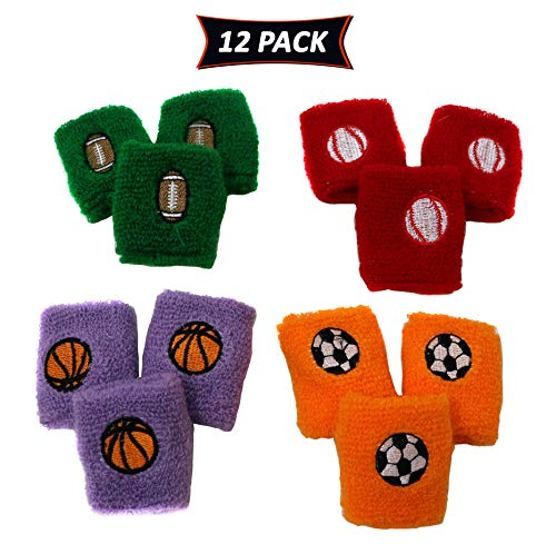 Sports Wristbands For Kids In Assorted Colors And Sports Designs Soccer, Basketball, Football, and Baseball - Sports Party Favor Pack Of 12