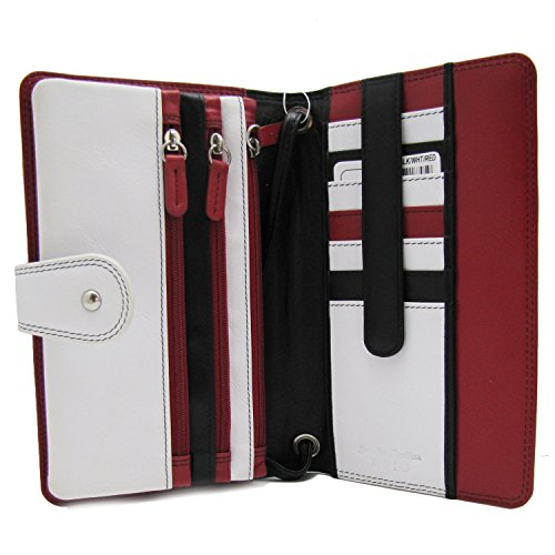 Wallet ILI Multi Black 7879 Compartments Bright Crossbody Red Black White wpZHpqUa
