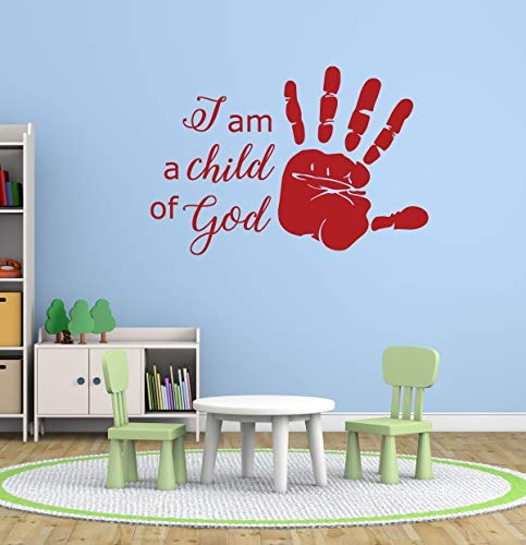 Religious Wall Decals | I Am a Child of God | Handprint, Christian Home Decor for Playroom, Nursery, Children's Bedroom, Church Decoration | Small, Large Sizes | Black, Metallic Gold, - Orange Decorations Nursery