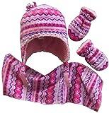 N'Ice Caps Girls Sherpa Lined Fair Isle Printed Fleece Hat/Scarf/Mitten Set (3-6 Months, fuchsia/pink/purple/white/turq)